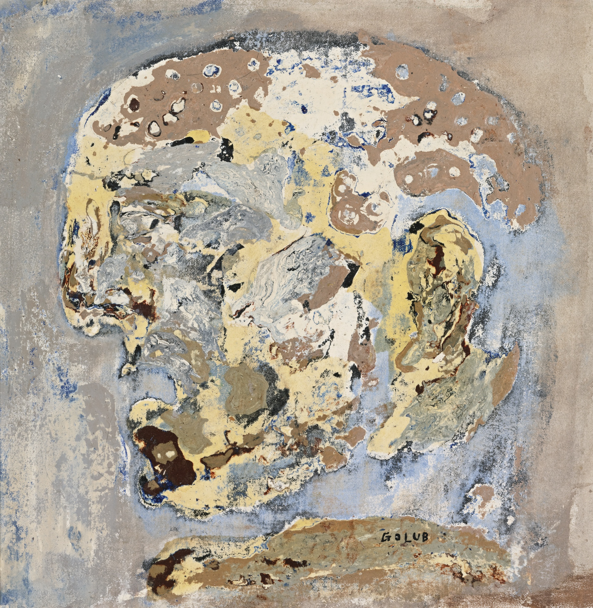 An example of Leon Golub's work, Head IX, not among the disputed works.